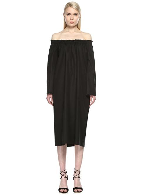 Beymen Collection Kayık Yaka Uzun Kollu Midi Elbise Siyah